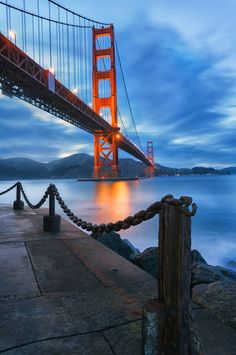Ok. This is one of THE most super pics ever taken of the GGB. Kudos to the photographer for outstanding composition and superb lighting! Golden gate Bridge : Dusk at Fort Point, San Francisco by KP Tripathi on 500px