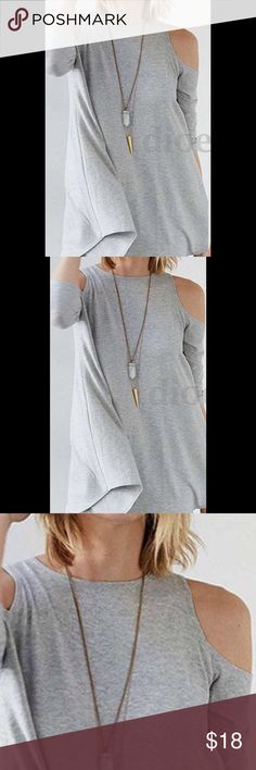 Heather Gray Cold Shoulder Flare Top Heather Gray cold shoulder flare hem, in soft polyester 95% 5% spandex. Fabric flows nicely. 3/4 sleeve. Price is firm unless bundled. Tops