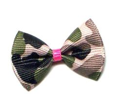 Cutie Collars Dog Hair Bows in  Pink & Camo Designer Barrettes