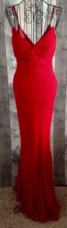 Cache 100% Silk Rhinestone Evening Gown Dress Bra Lined Pageant Formal Size 2 #Cache #Gown
