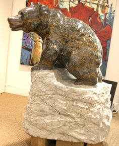 """'In the High Country'  Stone Carving by Cathryn Jenkins  50"""" x 40"""" x 24"""" 