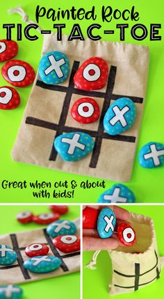 DIY Painted Rock Tic-Tac-Toe Travel Game for On-The-Go Fun! - - This DIY painted rock tic-tac-toe travel game was the easiest upcycled craft project ever! Carry this game in your bag for instant fun on the go! Summer Crafts, Diy Crafts For Kids, Projects For Kids, Easy Crafts, Craft Projects, Outdoor Projects, Kids Diy, Garden Projects, Upcycled Crafts