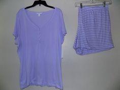 3XL Charter Club Pajama Set Lilac Solid/Print Stripe Cropped Knit NWT!  #CharterClub #PajamaSets