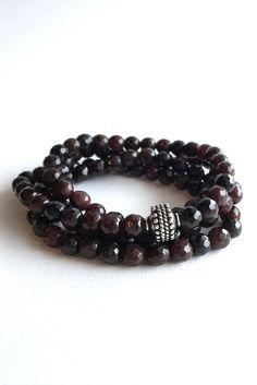 Faceted Garnet Necklace, 108 Mala Bead Jewelry, Wrap Gemstone Bracelet or Long Necklace