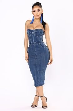 Denim Venom Tube Dress - Denim