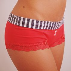 b29b1a5e3f Grey Stripe   Red Boyshort - These boy shorts hug your cheeks and make your  tush