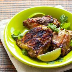 Coconut Cilantro Grilled Chicken - healthy  easy summer grilling chicken recipe. 102 calories a piece.