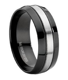 This stainless steel ring is black with a brushed center stripe around the center of the ring.This ring can be worn as a wedding band or a fashion ring. $24.95