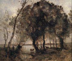 JEAN-BAPTISTE-CAMILLE COROT French, 1796 - 1875 La Pêche et la Fenaison (Environs de Ville d'Avray)c. 1865-70