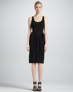 Self-Belted Sleeveless Jersey Dress, Black by Donna Karan