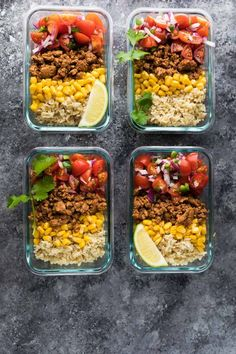 These Turkey Taco Lunch Bowls are the perfect make ahead (meal prep) work lunch recipe and only 320 calories per portion! These Turkey Taco Lunch Bowls are the perfect make ahead (meal prep) work lunch recipe and only 320 calories per portion! Lunch Meal Prep, Meal Prep Bowls, Easy Meal Prep, Healthy Meal Prep, Healthy Eating, Clean Eating, Healthy Lunches, Dinner Healthy, Stay Healthy