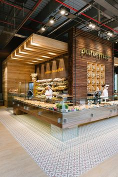 Pin Veredas Arquitetura --- www.br --- Inspiração: Panemar bakery store in Polus mall - Cluj Napoca by Todor Cosmin. Restaurant Design, Bakery Shop Design, Deco Restaurant, Coffee Shop Design, Cafe Design, Bakery Interior Design, Bakery Store, Bakery Cafe, Cafe Bistro