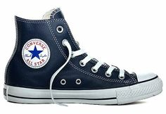 Converse Chuck Taylor All Star Hi Top Athletic Navy Leather 135252C : American Athletics