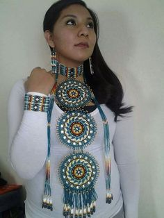 Image may contain: one or more people Native American Girls, Native American Regalia, Native American Beauty, Native American Beadwork, Native American Jewelry, Maxi Collar, Native Wears, Native Beadwork, Indian Beadwork