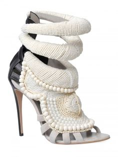 Tribal vibe. Kanye West By Giuseppe Zanotti 115mm Kanye All Over Beads Sandals in White - Lyst