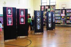 ART SHOW rolling art display panels made from doors Art Display Panels, Display Boards, Art Classroom Management, Deep Space Sparkle, School Displays, Museum Displays, Panel Art, Art Club, Art Festival