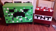 Custom minecraft dresser and night stand... Nanny's Creative Cottage facebook.