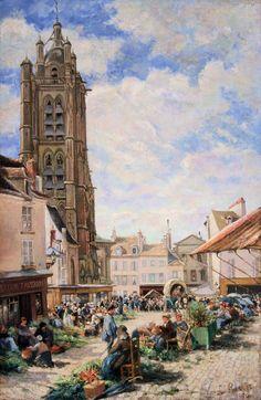 Ludovic Piette, Le marché aux légumes, place du petit martroy, Pontoise, 1877