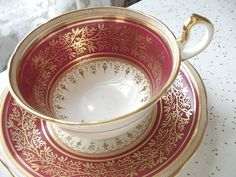 Antique 1930s Aynsley tea cup set, vintage red and gold English tea cup, bone china tea set via Etsy