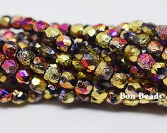3mm California Purple Etched Round Fire Polished @ www.bonbeads.com