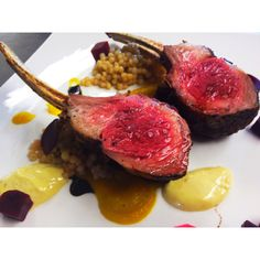 Coffee rubbed rack of lamb, couscous, trifecta of beets