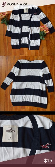 Classic Striped Hollister Cardigan Classic Striped navy and white hollister cardigan! Very lightweight and good for spring and fall! In amazing condition - barely worn! Hollister Sweaters Cardigans
