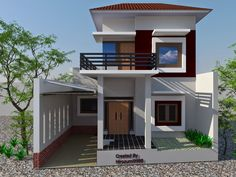 One of the design houses that are currently popular is a minimalist house design. Minimalist house a variety of models . House Balcony Design, House With Balcony, House Front Design, Roof Design, Modern House Design, Exterior Design, Style At Home, Two Storey House Plans, Modern Minimalist House