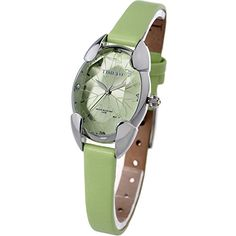 Time100 Polyhedral Crystal Green Dial Ladies Watch