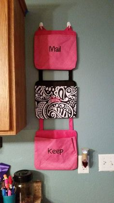 These Pockets can be hung anywhere, personalize them and move them around. Works great in the car too! www.mythirtyone.com/tonyaPeterson
