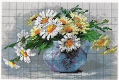 flowers in vase Learn Embroidery, Cross Stitch Embroidery, Embroidery Patterns, Cross Stitch Heart, Cross Stitch Flowers, Cross Stitch Designs, Cross Stitch Patterns, Cross Stitch Supplies, Fabric Art