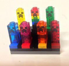7 Lego Minecraft Custom Green, Blue, Red, Pink, Yellow, Orange Creeper - 21102