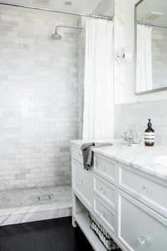love all the tile Bathroom designed by Katie Martinez Bathroom, guaranteed to inspire your next bathroom remodel or renovation, via Next Bathroom, Upstairs Bathrooms, Bathroom Renos, Basement Bathroom, Bathroom Renovations, Bathroom Interior, Small Bathroom, White Bathrooms, Bathroom Ideas
