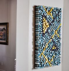 Wine cork art. Great conversation piece! Create your own design. This one is a modern geometric