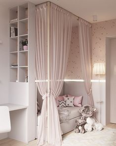 Room Decor Ideas Black - Contemporary Neutral Homes That Don& Need Bold Color To Wow. Drapes match walls and bedding. Lyddie's hangout space Girls Bedroom Colours, Child Bedroom Lighting Ideas Looks cool, isn't it? blush pink canopy little girl's room Dream Rooms, Dream Bedroom, Baby Bedroom, Bedroom Decor, Bedroom Curtains, Bedroom For Kids, Luxury Kids Bedroom, Bedroom Setup, Bedroom Lighting