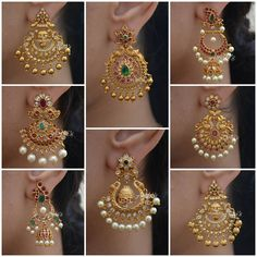 Jewelry Design Earrings, Gold Earrings Designs, Necklace Designs, Gold Bridal Earrings, Diamond Earrings, Drop Earrings, Cotton Saree Designs, Blouse Designs, Nose Ring Designs