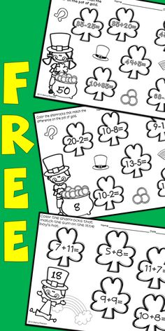 6 NO PREP St. Patrick's Day Math Printables ready for your students to use to practice their math skills. First Grade Classroom, 1st Grade Math, Future Classroom, Second Grade, Kindergarten Anchor Charts, Kindergarten Fun, Preschool, Math Resources, Math Activities