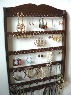 Jewelry Organizer, Cocoa Brown, Oak, Wood, Wall Hanging, 54-108 Pair Earring Holder, 20 Peg Bracelet Display Bar, 15 Peg Necklace Rack