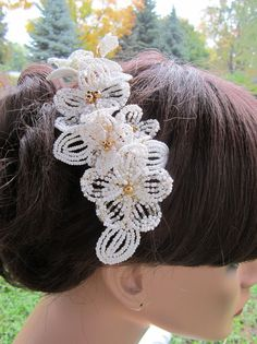 french beaded flower headpiece
