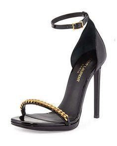 X2TWX Saint Laurent Patent Chain-Trim Ankle-Strap Sandal
