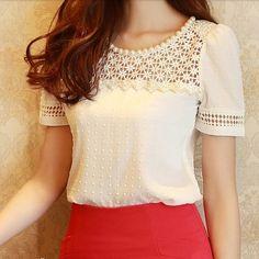 Nova 2014 verão recorte escritório elegante beading rendas 3D manga curta slim S  XXL plus size blusa chiffon tops de camisa para as Mulheres em Blusas - Feminino de Roupas & acessórios no AliExpress.com | Alibaba Group