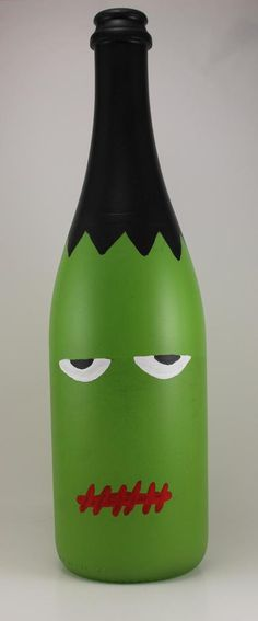 """Frankenstein Hand-painted Wine Bottle Halloween Decoration 11-12"""" tall. LOVE LOVE LOVE, DEFINATELY going next to the candy corn and pumpkin face bottles"""