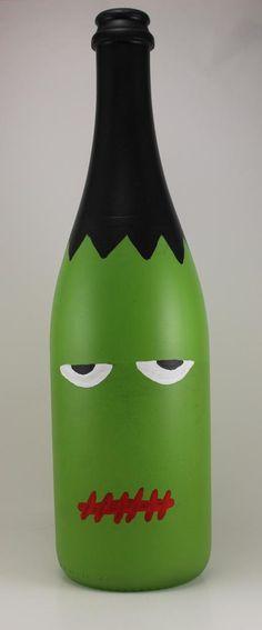 """Frankenstein Hand-painted Wine Bottle Halloween Decoration 11-12"""" tall"""