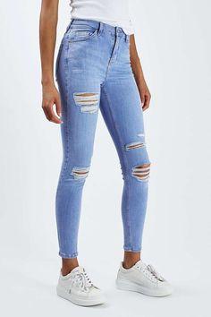 Blaue MOTO Jamie Jeans im extremen Destroyed-Look - Jeans - Bekleidung - Topshop More