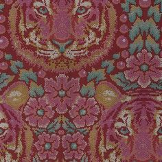 Crouching Tiger in Tourmaline designed by Tula Pink for FreeSpirit Fabric as part of the Eden collection