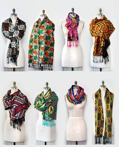 """Beautiful reversible African print scarf with fringe on each side.-70""""L x 12""""W-3"""" hand knotted fringes -Lightweight-Handmade"""