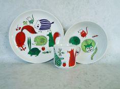 Mid Century Arabia Finland Fox Dishes, Arabia 3 Piece Fox Mouse Hedgehog Ceramic Set