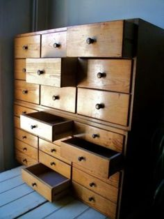 Vintage Retro Wooden Old Industrial Haberdashery Bank Of 15 Drawers Cabinet