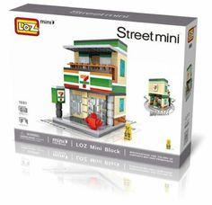 LOZ Mini Bricks- Mini Street - Convenience Store (No.1601) Day Up, Custom Boxes, Building Toys, Bricks, Dollhouse Miniatures, Kids Toys, Convenience Store, Handmade Items, Lego