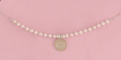 Saltwater Pearl and Silver Bead Necklace with Monogrammed Charm ($48)