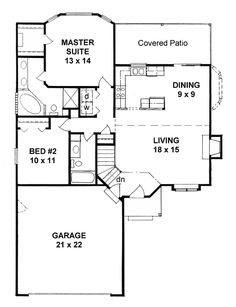 First Floor Plan of Traditional   House Plan 62510